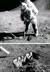 同じくアポロ17号、宇宙飛行士による原位置地盤調査