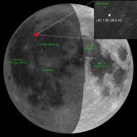 赤い点が2005年11月7に観測された隕石衝突地点