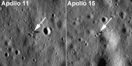 アポロ11、15号着陸地点