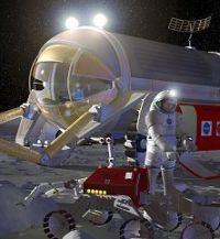 月の地質調査を行う宇宙飛行士とロボット